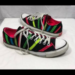 Converse Black Neon Pink Green Striped Sneakers 11